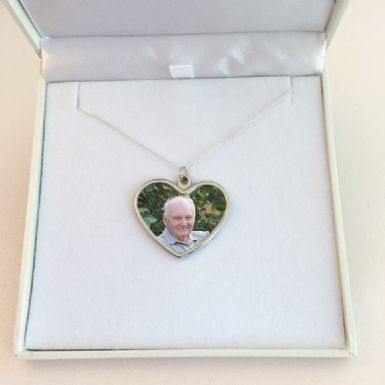 Memorial Necklace with Photo Heart Pendant, Sterling Silver Chain | Someone Remembered